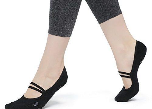 Yolev Yoga Pilates Socken mit Gummibänder und ABS Gummipunkte,anti-rutsch für Damen Größe:EU35-40