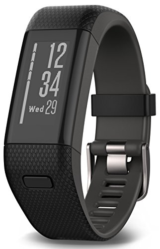 Garmin vívosmart HR+ Fitness-Tracker – L, 010-01955-30 – GPS-fähig, Herzfrequenzmessung am Handgelenk, Smart Notifications Black, M