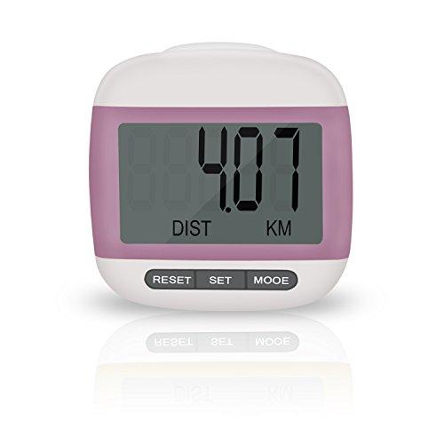 Incutex Schrittzähler Kalorienmesser, Pedometer mit LCD Display, Stepcounter, Schrittmesser in pink