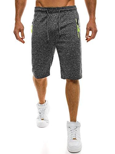 OZONEE Herren Jogg Fitness Sportshorts Knielang Kurze Hose Shorts Bermuda RED FIREBALL 1083S DUNKELGRAU XL