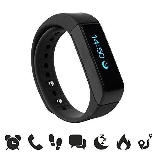 endubro i5 plus Fitness Armband – Smartwatch für Android Smartphone und iPhone, Schrittzähler, Push-Message und Anrufer – ID Benachrichtigung Schwarz – smart bracelet – fitness tracker