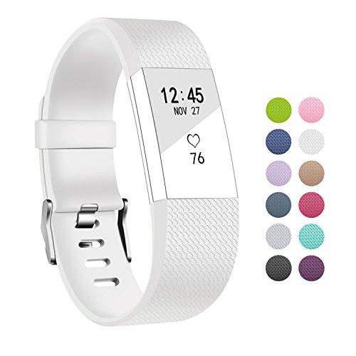Ersatz Fitbit Charge 2 Armbänd In Packungen, BeneStellar Ersatz Klassisch Armband für Fitbit Charge 2 Weiß, Small 5.7″-7.8″