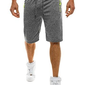 OZONEE Herren Jogg Fitness Sportshorts Knielang Kurze Hose Shorts Bermuda RED FIREBALL 1083S GRAU 2XL