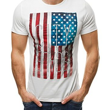 OZONEE Herren T-Shirt Kurzarm Shirt mit Print M – 2XL GLO STORY 7429 WEIß 2XL