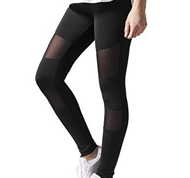 Ladies Tech Mesh Sport Leggings Yoga Pants schwarz S