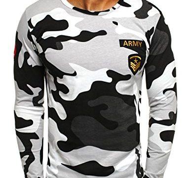 OZONEE Herren Longsleeve Sweatshirt Langarmshirt Camouflage Armee Militärstil ATHLETIC 1086 GRAU L