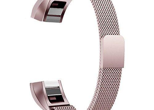 Fitbit Alta HR Armband, BeneStellar Milanese Edelstahl Uhrenarmband Mailänder Magnetschleife Edelstahlband Ersatz Armband Für Fitbit Alta HR und Alta Gold Pink