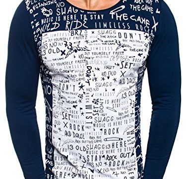 OZONEE Herren Longsleeve Sweatshirt Langarmshirt Aufdruck Prints OZONEE 9108 DUNKELBLAU L