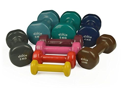 diMio 0,5 kg Vinyl Gymnastik Hanteln im Doppelpack, Soft-Grip, für Fitness, Ausdauertraining und Muskelaufbau