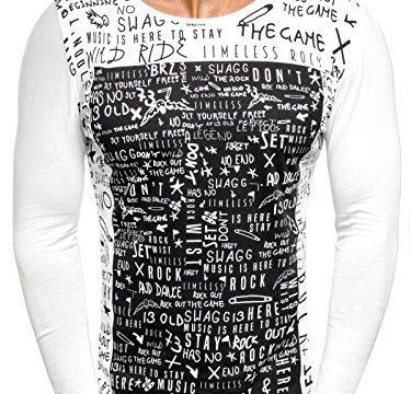 OZONEE Herren Longsleeve Sweatshirt Langarmshirt Aufdruck Prints OZONEE 9108 WEIß M