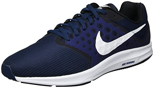 Nike Herren Downshifter 7 Laufschuhe, Blau Midnight Navy/White/Dark Obsidian/Black, 45 EU