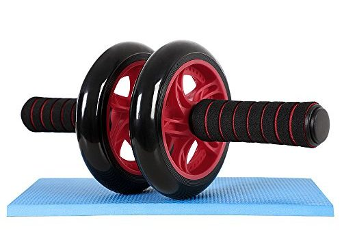 Songmics AB Roller Bauchtrainer Roller AB Wheel mit Knie Pad Rot SPU75R
