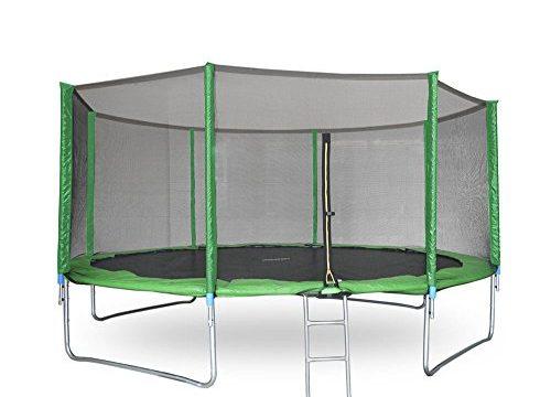 Gartentrampolin Trampolin mit Sicherheitsnetz Leiter Randabdeckung Ø 366cm, Grün