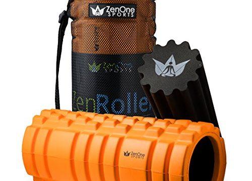 ZenRoller Faszienrolle mit GRATIS E-BOOK & ÜBUNGSPOSTER | Premium-Massagerolle | Faszien Rolle für Triggerpunkt-Massage 2in1 Bundle Orange