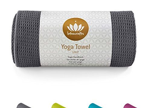 Wet Grip – ideal für Hot Yoga, Ashtanga – Lotuscrafts Yogahandtuch – 183 x 61 cm – hautfreundlich und saugfähig – hohe Bodenhaftung Silikonbeschichtung