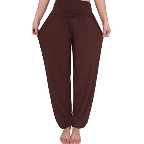 2b23813c25f306 MEISHINE® Damen Modal Elastisch HaremsHose Pluderhose Pumphose Ideal für  Sport Yoga Tanz Jogging Dance S, Braun