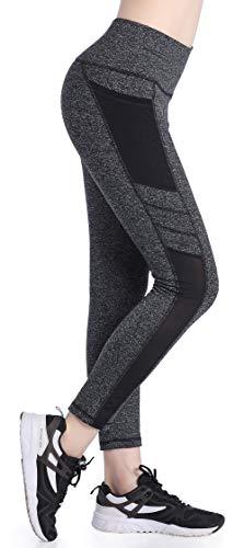 1ccc735ef517db SEYO Sporthose Damen Yogahose Leggins Hoher Bund Sport Leggings Blickdicht Tasche  Fitnesshose Grau-L, Small
