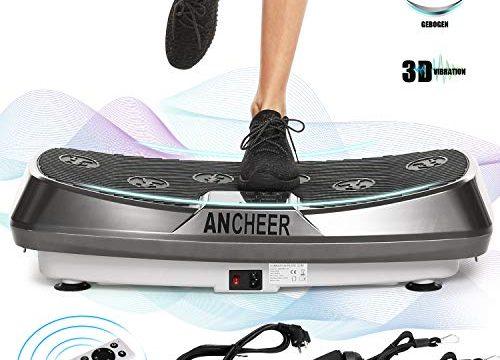 ANCHEER Vibrationsgeräte Fitness JF-C04, Dual-Motoren Vibrationsplatte Oszillierend mit 3D Wipp Vibrations, einmaligen Curved Design, Color Touch Display, inkl. Trainingsbänder + Fernbedienung Grau