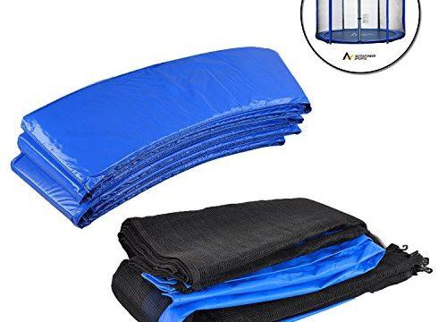 UV beständige Federabdeckung Randabdeckung – Trampolinzubehör Set für Trampolin 366cm – 8Stangen beinhaltet: Blau 180cm Höhe Ersatznetz Sicherheitsnetz Trampolinnetz + PVC