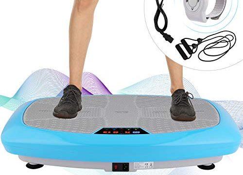 ANCHEER Vibrationsplatte,Automatik Manuell Vibrationsplatten, mit Armband Fernbedienung, Rutschfester Fitnessbereich, LCD Display, Trainingsbänder, maximale Belastbarkeit 120kg Blau