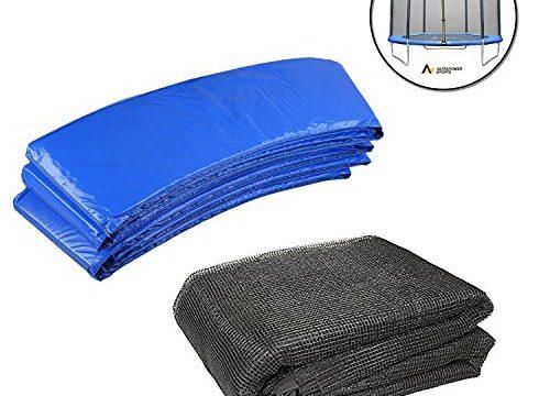 UV beständige Federabdeckung Randabdeckung – Trampolinzubehör Set für Trampolin 366cm–8Stangen beinhaltet: 180cm Höhe Ersatznetz Sicherheitsnetz Trampolinnetz + blau PVC