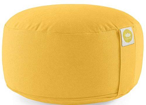 Lotuscrafts Yogakissen Meditationskissen Rund Lotus – Waschbarer Bezug aus Baumwolle – Yoga Sitzkissen mit Dinkelfüllung – Sitzhöhe 15cm – GOTS Zertifiziert