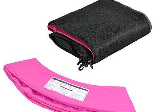 Trampolinzubehör Set für Trampolin 305cm – 6Stangen beinhaltet: Pink 180cm Höhe Ersatznetz Sicherheitsnetz Trampolinnetz + PVC – UV beständige Federabdeckung Randabdeckung