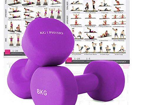 KG Physio Neopren-Hanteln für Damen und Herren Gewichte kommen paarweise, A3 Poster enthalten, 1-8kg hantelset lila 8kg