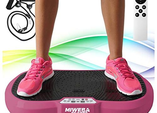 Miweba Sports Fitness 2D Vibrationsplatte MV100-3 multidimensionale Vibrationszonen – Oszillierend – 250 Watt Pink