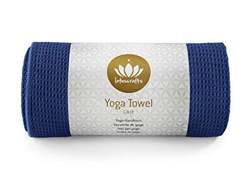 Yogahandtuch ideal für Hot Yoga 183 x 61 cm Himmelblau – Antirutsch Yogatuch mit hoher Bodenhaftung – Lotuscrafts Yoga Handtuch Wet Grip – Rutschfest & Schnelltrocknend