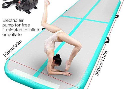 FBSPORT Airtrack Luftmatratze, aufblasbar, für Gymnastik, Luftbahn, Bodenbelag mit elektrischer Luftpumpe für Fitnessstudio/Yoga/Training/Kinder/Sport, 4-12 m Länge, New Light Green