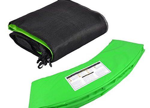 Trampolinzubehör Set für Trampolin 244cm – 6Stangen beinhaltet: Grün 180cm Höhe Ersatznetz Sicherheitsnetz Trampolinnetz + PVC – UV beständige Federabdeckung Randabdeckung