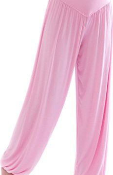 HOEREV Super weiche Modal Spandex Harem Yoga Pilates Hosen, Gr.-Large,Hell-Pink