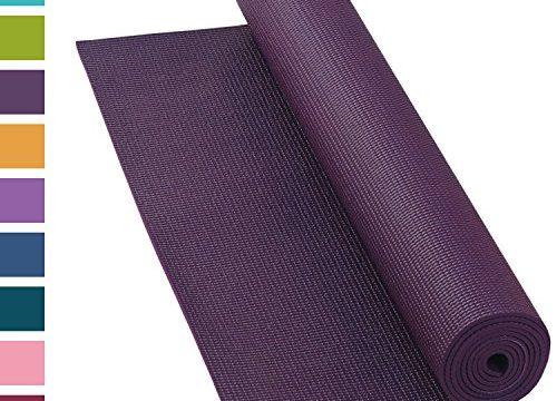 Yogamatte ASANA MAT, 183 x 60cm, 4mm PVC mit ÖKO-TEX 100, gute Yoga-Matte nicht nur für Anfänger, Sticky Mat, Gymnastikmatte, phtalatfrei, schadstofffrei aubergine