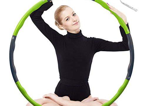 Hula Hoop zur Gewichtsreduktion,Reifen mit Schaumstoff 1,3 kg Gewichten Einstellbar Breit 48–88 cm beschwerter Hula-Hoop-Reifen für Fitness 4 Knoten Grün + Grau mit Mini Bandmaß Grün