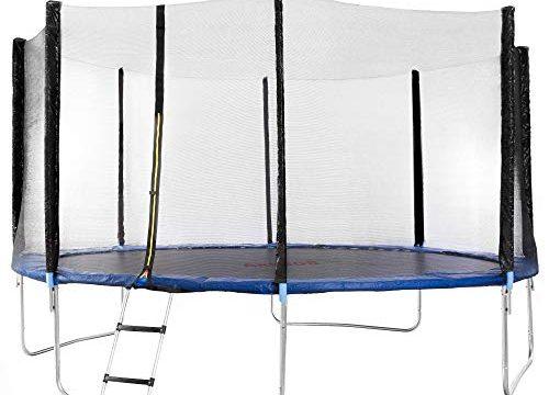 Arebos Outdoor Trampolin Komplettset ⌀ 244, 305, 366, 427 cm/Inklusive Sicherheitsnetz, Leiter, Sprungmatte, gepolsterten Netzpfosten und Randabdeckung/GS geprüft Durchmesser 427 cm