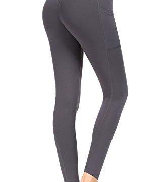 M – Munvot Sport Leggings Damen mit Taschen lang Sporthose Yogahose Laufhose Tights Fitnesshose Yoga Leggings für Damen Grau #02