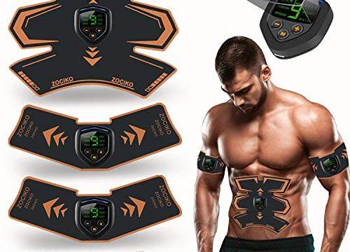 zociko EMS Elektrische Muskelstimulation EMS Trainingsgerät Muskelstimulato Elektrische Bauchmuskeltrainer Abs Stimulator USB-Ladegerät LED Anzeigebildschirm 10 PC Gel-Pad 2 Stück/Beutel