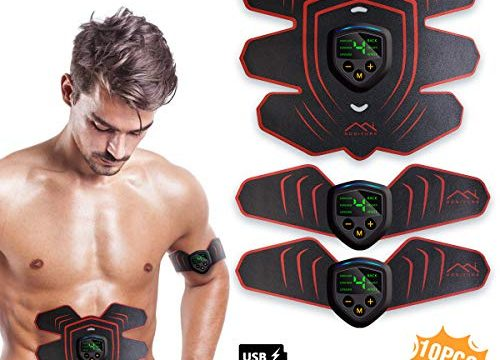 HONITURE Muskelstimulator Bauchtrainer, USB Wiederaufladbar & LCD Bildschirm EMS Trainingsgerät für Herren Damen zur Muskelaufbau und Fettverbrennung, 10PCS Ersatz-Gel-Pads, Schwarz rot
