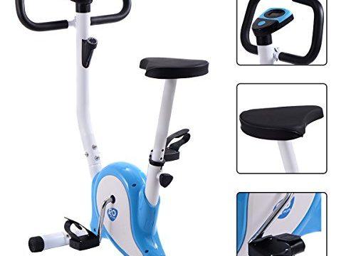 GOPLUS Heimtrainer Fahrrad Fitness Fahrrad F-Bike Fitnessbike Trainer bis 120kg höhenverstellbar Farbwahl Blau+weiß