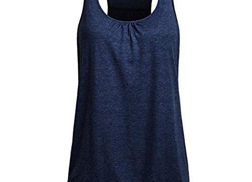 TUDUZ Damen Rundhals Stretch Sport Top Cute Racerback Yoga Workout Sommer Shirts Tank Top XL,Marine