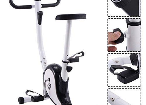 GOPLUS Heimtrainer Fahrrad Fitness Fahrrad F-Bike Fitnessbike Trainer bis 120kg höhenverstellbar Farbwahl Schwarz+weiß