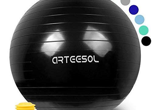 arteesol Gymnastikball, Balance Ball 45cm/55cm/65cm/75cm Yoga Ball mit Pumpe Anti-Burst Fitness Balance Ball für Core Strength Schwarz, 65cm