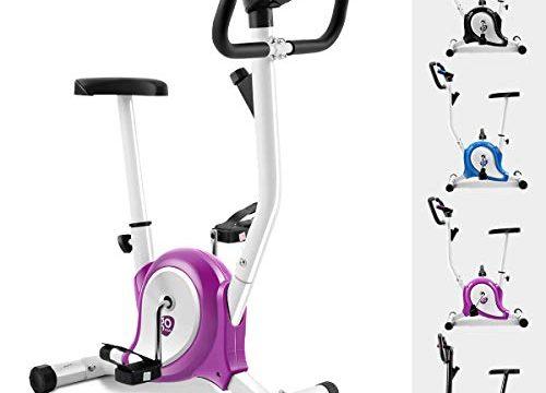 GOPLUS Heimtrainer Fahrrad Fitness Fahrrad F-Bike Fitnessbike Trainer bis 120kg höhenverstellbar Farbwahl Lila+weiß