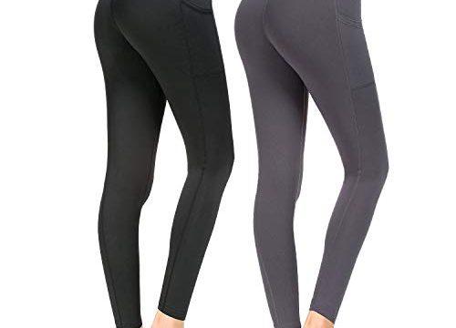 Munvot Sport Leggings Damen mit Taschen lang Sporthose Yogahose Laufhose Tights Fitnesshose Yoga Leggings für Damen A1189 / 2er Pack 03 + 02 M