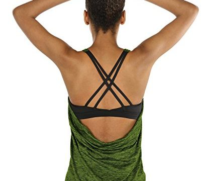 2 in 1 Yoga Gym Shirt Fitness Training Tanktop XXL, Green Heather – icyzone Damen Sport Tops mit Integriertem BH