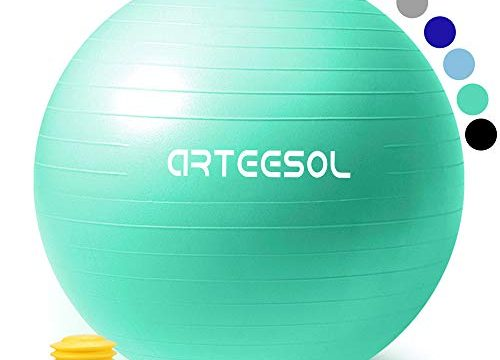 arteesol Gymnastikball, Balance Ball 45cm/55cm/65cm/75cm Yoga Ball mit Pumpe Anti-Burst Fitness Balance Ball für Core Strength Meerblau, 75cm
