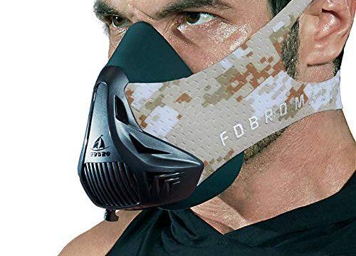 Workout-Trainingsmaske – High-Altitude-Endurance-Maske erhöht die Kraft, Laufwiderstand Atemmaske mit Tragetasche Wüste, M – FDBRO Training Mask