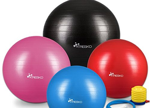 TRESKO® Anti-Burst Gymnastikball 55cm 65cm 75cm 85cm | Sitzball | Yogaball | 300 kg | mit Luftpumpe Rosa, 65cm geeignet für 155-175cm