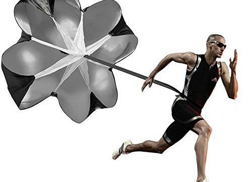 Kuyou Sprinttraining 56″ Zoll-Speed Training Chute Widerstandskraft Geschwindigkeit Training Schnelligkeitstraining Regenschirm Laufschirm 1pcs schwarz